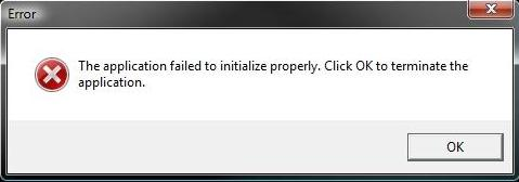 16394 -The application failed to initialize properly []