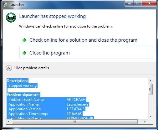16389 -Launcher has stopped working []