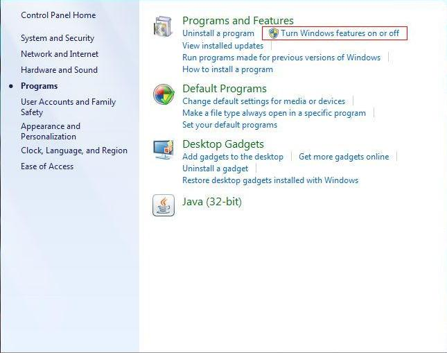 Turn windows features A []